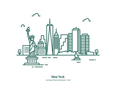100 Days of Vector Illustration No.8 - NYC liberty the statue of liberty illustration vector us city new york nyc