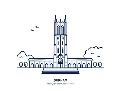 100 Days of Vector Illustration No.10 - Durham illustration city north carolina durham duke chapel duke
