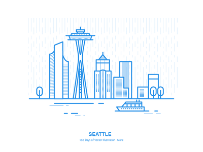 100 Days of Vector Illustration No.12 - Seattle illustration vector space needle us city seattle