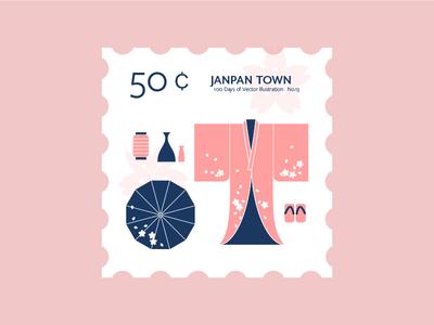 Japan Town kimono stamp geta japan san francisco