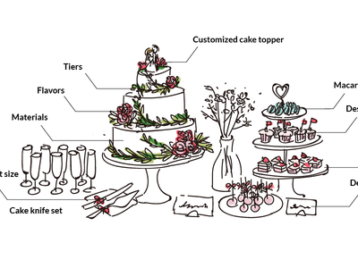 Cake & Dessert dessert hand drawing cake wedding