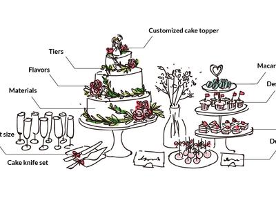 Cake & Dessert dessert hand drawing cake wedding