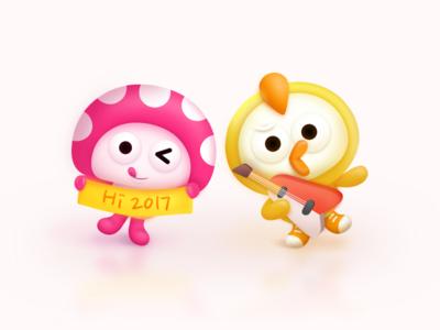 MOMO & GUGU mascot friends mushroom chicken