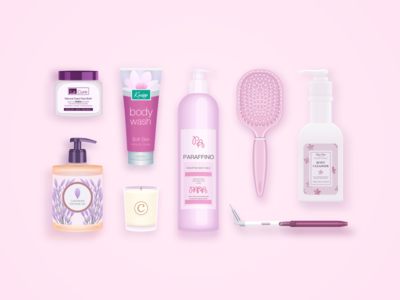Cleaning Products of MOGU Selection  pink gel shower cream beauty candle cleanser comb bath icon illustration