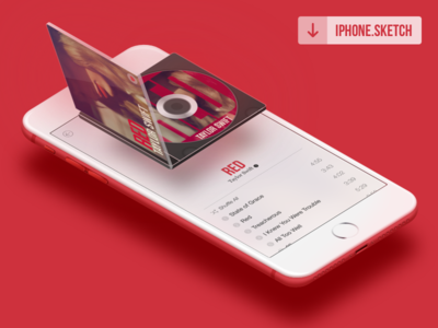 Red mockup player music iphone