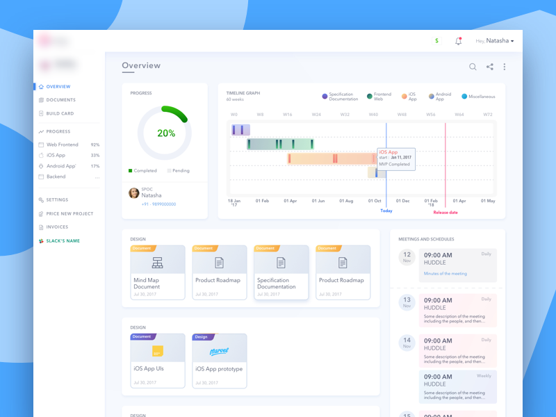 Dashboard to manage the progress of the project price invoice roadmap notification minutes meeting development documents status chart progress dashboard
