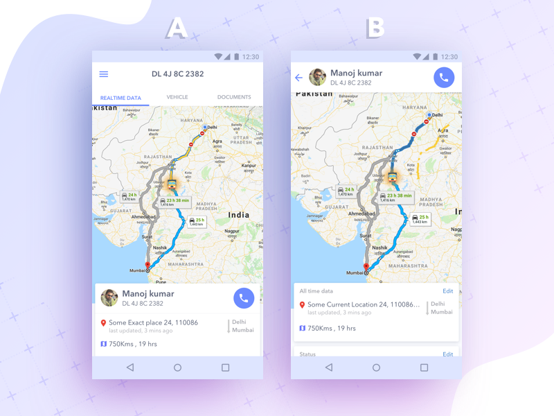 Two iterations for the logistics based app to track trucks data. driver location map vehicle realtime track logistics trucks