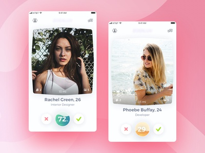 Another dating app's ui made for one of the projects. dislike like chat profile gradient swipe app ios love picture dating