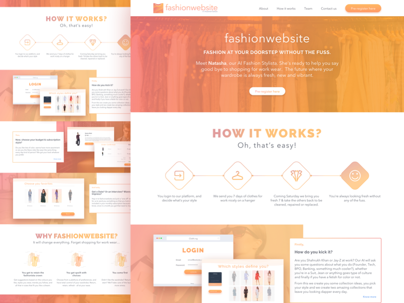Fashion website's iteration 01 that did for one of the projects. gradient orange app web login register clothes rent fashion