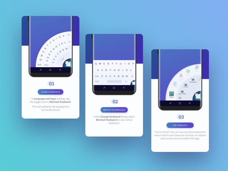 Onboarding UI - Shelock keyboard for android with in app actions round apps inapp onboarding sherlock android circular keyboard