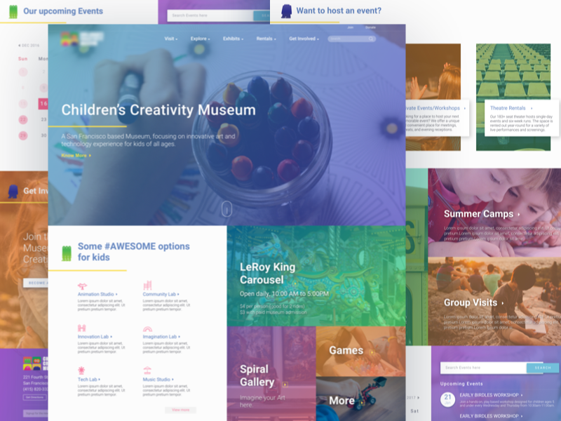 Landing page with pleasing colors and real-life images. gradient colors icons kids children landing page design web