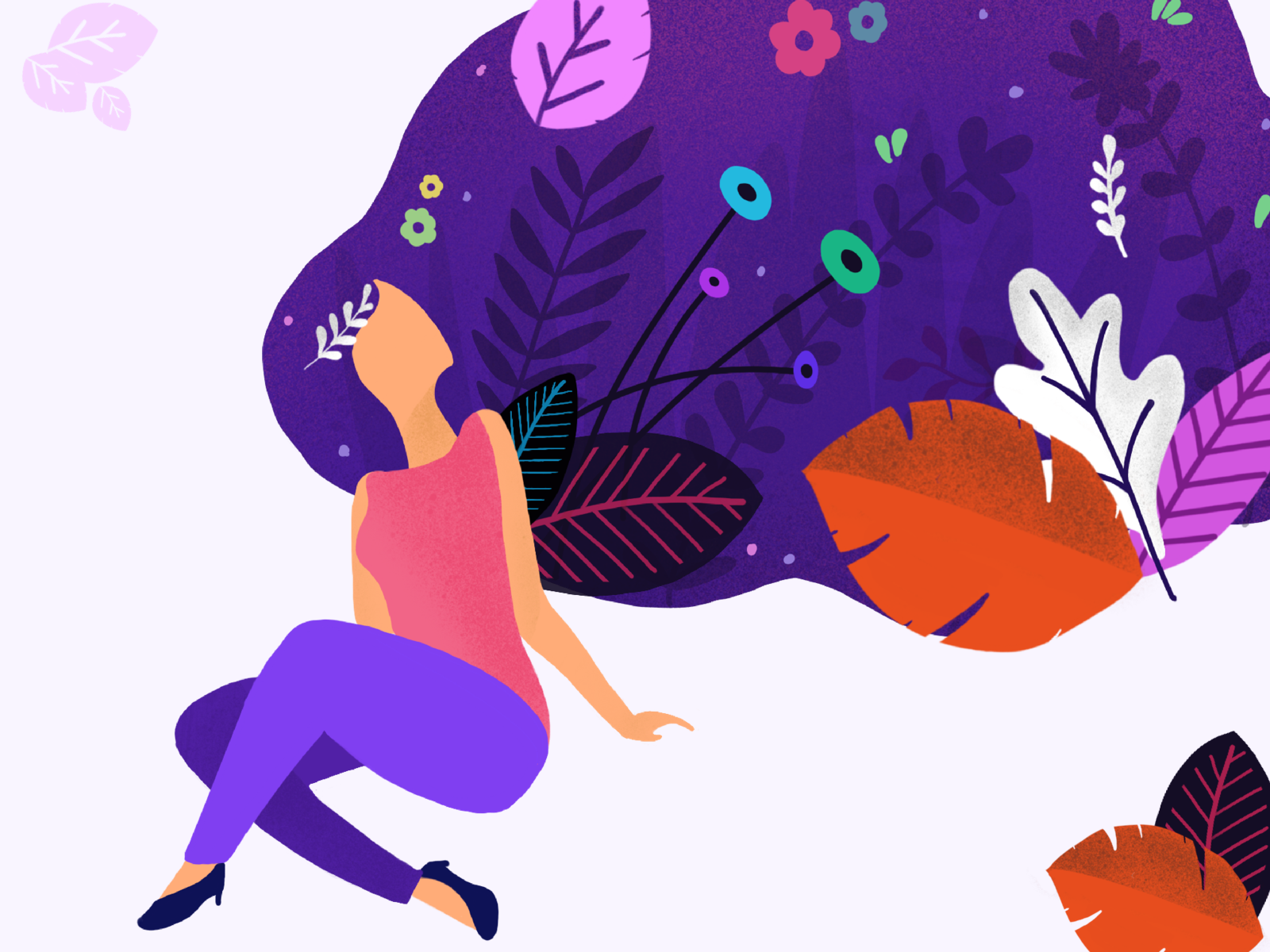 Day 01 - Imagination of a happier world - illustration gradient flora abstract flowers color brush grain design nature girl illustration
