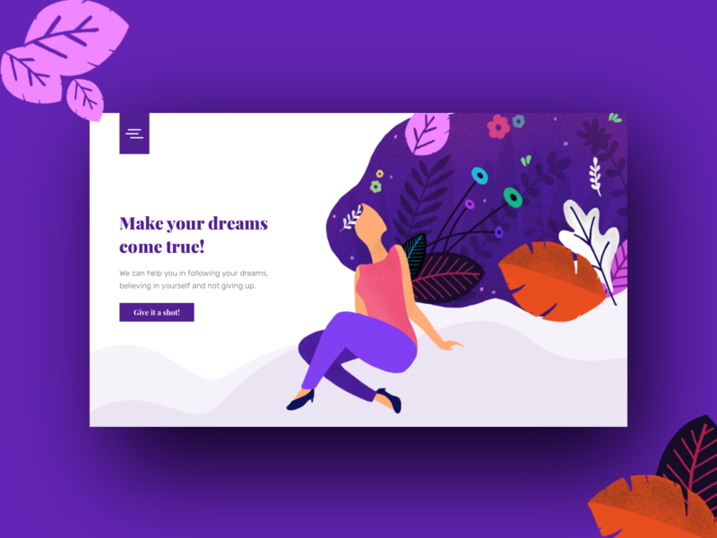 Day 01 (part 2) - Landing page using the last illustration. brush minimal illustration ui landing page web design gradient