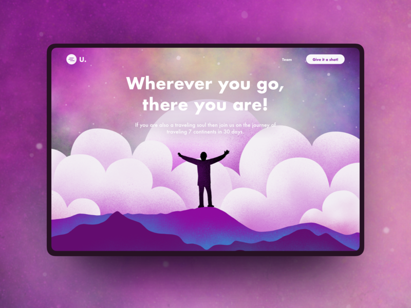 Day02 part2 - Conquer It All with traveling  - ConceptUI flat cloud gradient rebound illustration landingpage travel graphic
