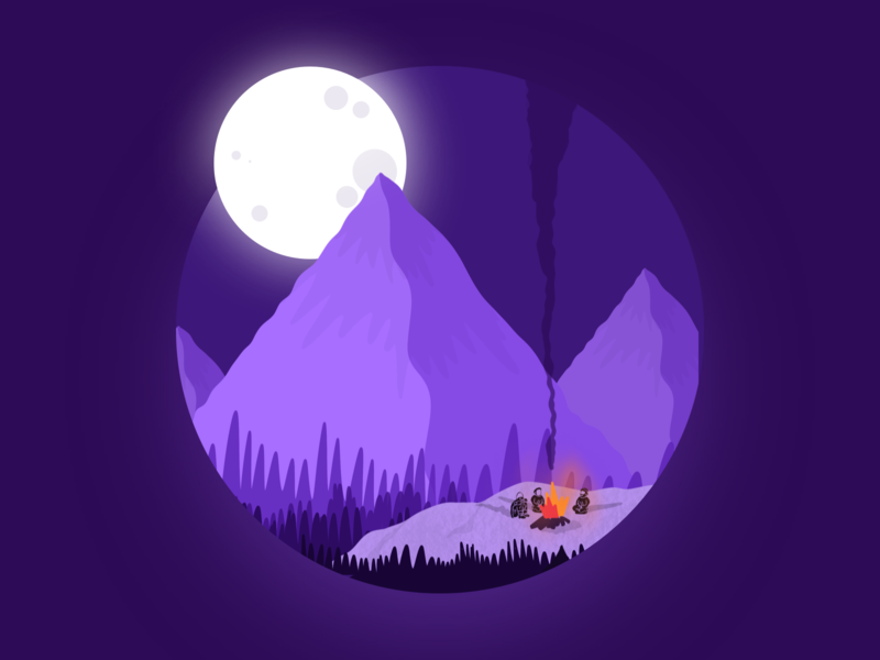 Day03 (part 1) - Bonfire in Mountains with a touch of moonlight graphic illustration moonlight procreate smoke bonfire purple flat mountain gradient