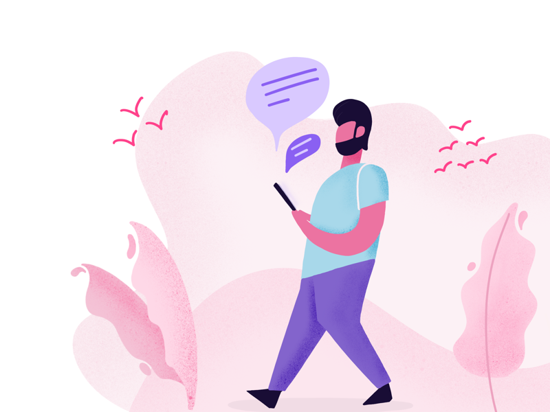 Day 04 part 1 - Light illustration of cell network pink desert chat message text shadow flat illustration