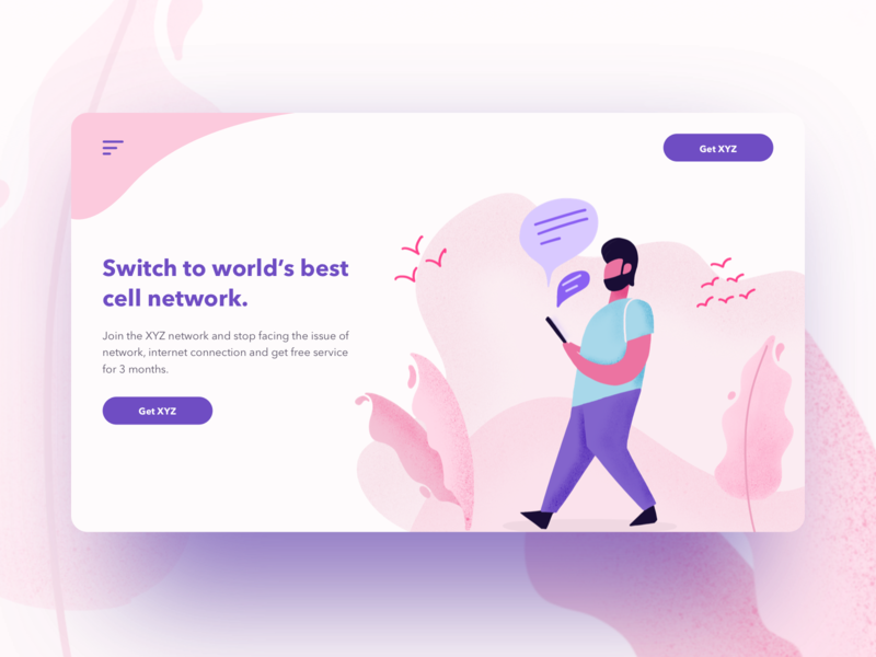Day 04 part 2 - Concept UI for the cell network company flat network text message web landingpage character illustration light pink ui