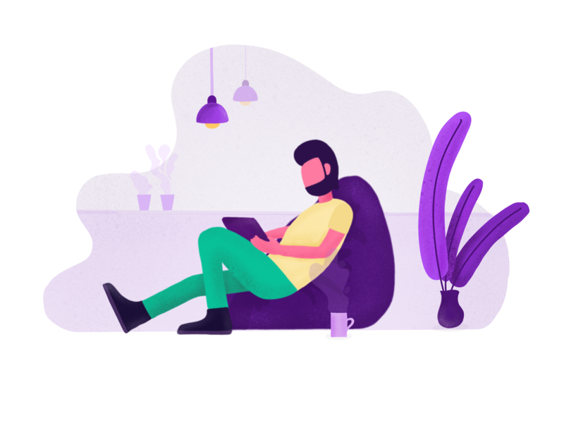 Day 07 - Freelancing Designer Illustration graphic yellow beanbag coworking purple illustration simple minimal clean flat