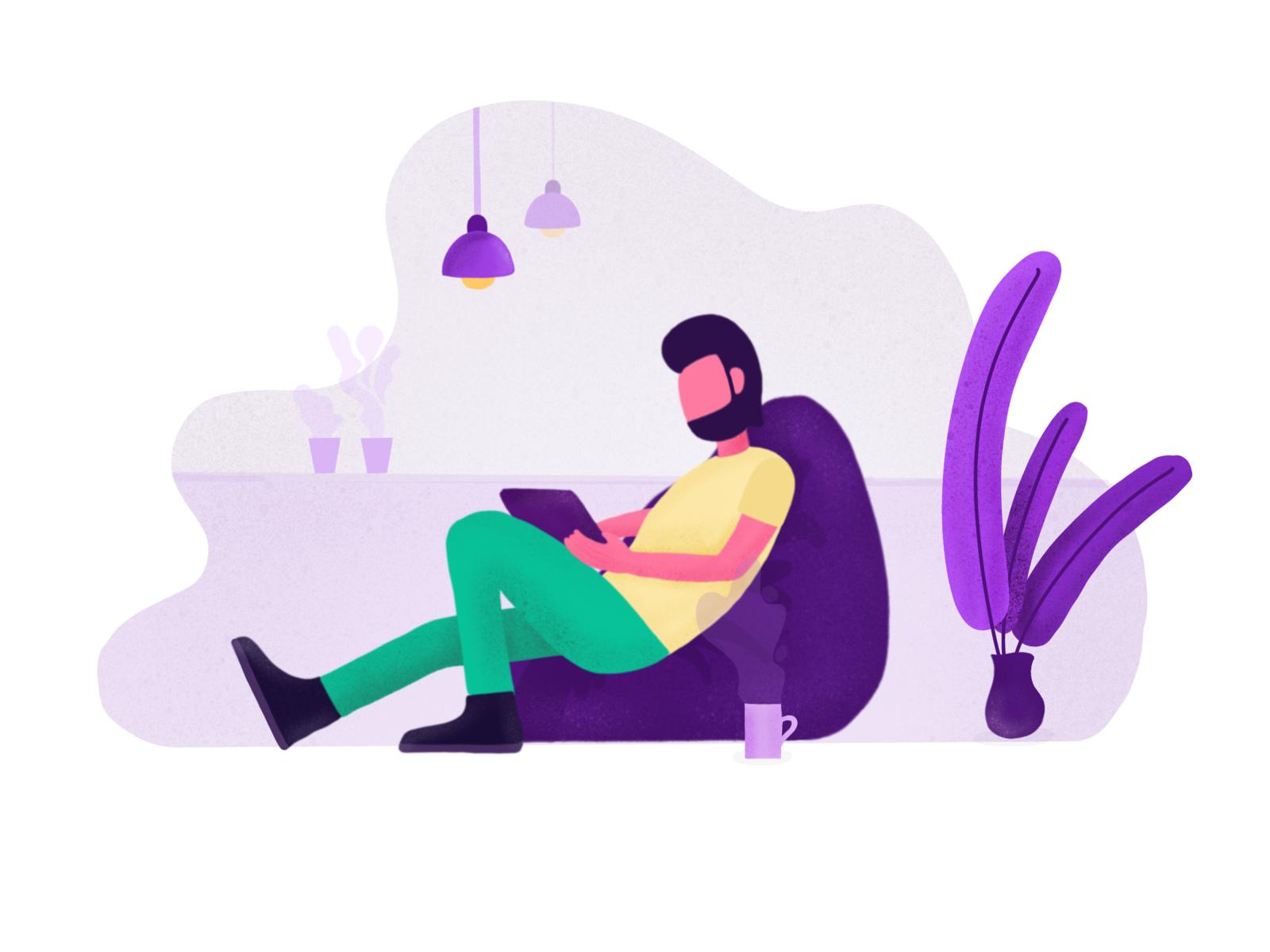 Day 07 - Freelancing Designer Illustration graphic yellow beanbag coworking purple illustration simple minimal clean flat