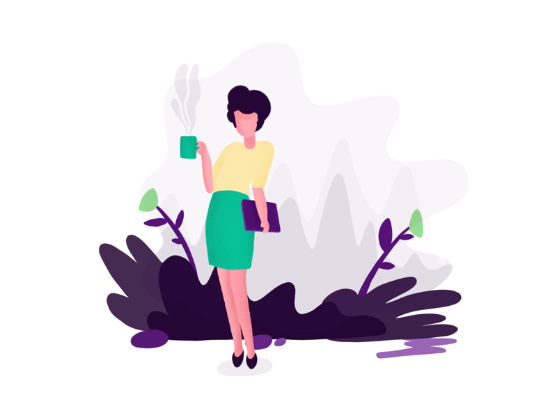Day 08.  - get a tutor anywhere in the world girl tutor coffee random ui illustration