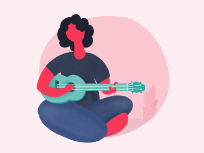 Day 09 - abstract illustration of a string player character abstract graphic illustration guitar music