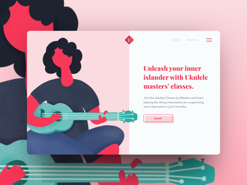 Day 9 part 2 - Concept UI for a string player classes concept sketch ukulele ui landingpage web guitar string