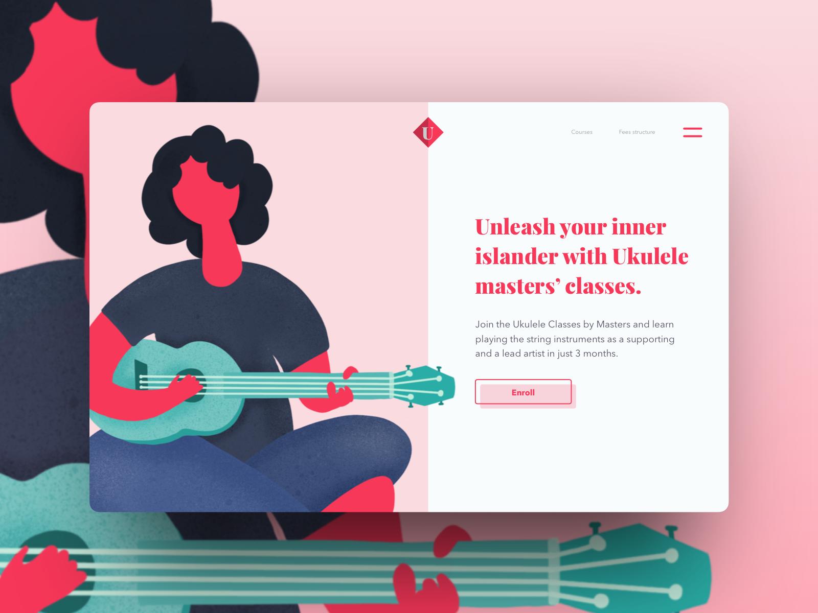 Day 9 part 2 - Concept UI for a string player classes concept sketch ukulele ui landingpage web guitar string