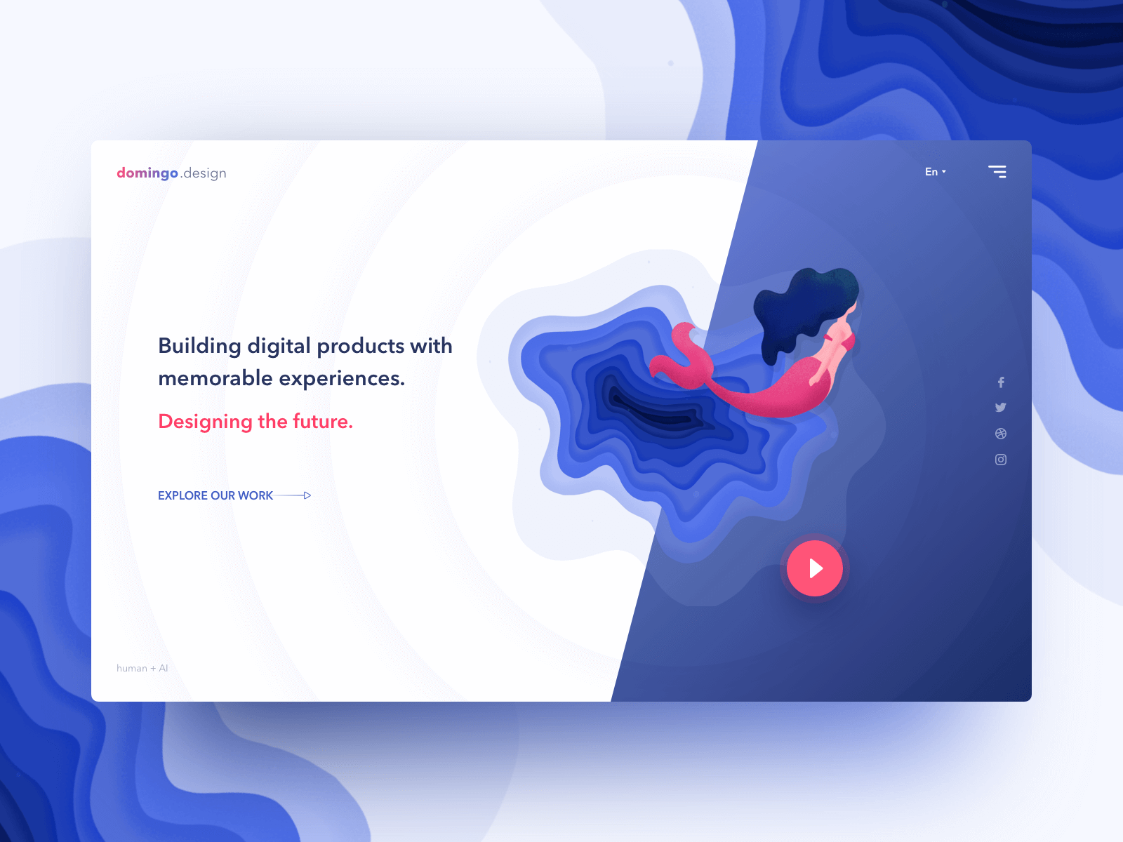Day10 part2 - Concept UI for the design/dev agency gradient flat blue minimal product agency design landingpage ui web