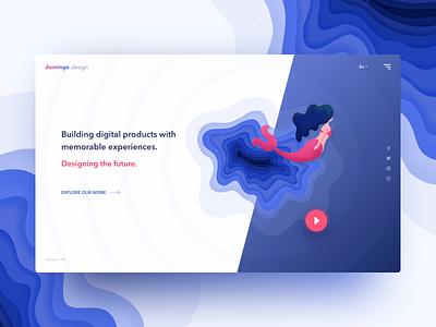 Day10 part2 - Concept UI for the design/dev agency gradient flat blue minimal product agency design landingpage ui web