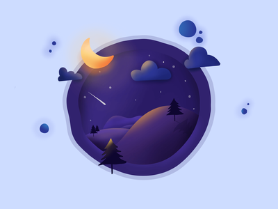 Day 12 - abstract landscape - night flat graphic minimal procreate gradient purple blue night landscape illustration