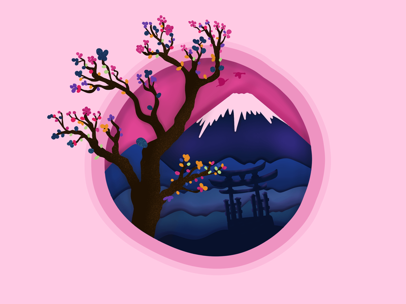 Day 14 - colorful illustration for the day. colors challenge volcano pink mountain graphic illustration