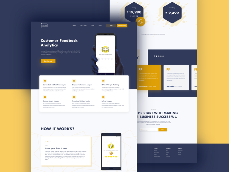 Fellafeeds minimal landing page. pricing clients startup feedback yellow landingpage web