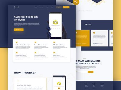 Fellafeeds minimal landing page. pricing clients startup feedback yellow landingpage web