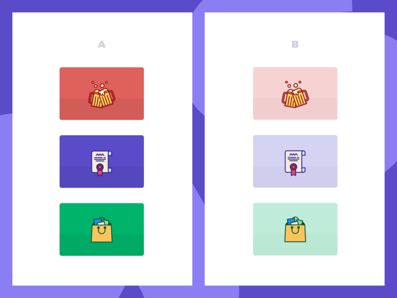 Which icons set do you prefer for the categories? ecommerce green blue purple red stoked ab testing icons