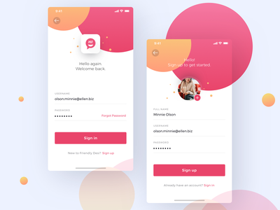 Sign in and Sign up ios screens for one of the clients signup form pink ios register login signin signup