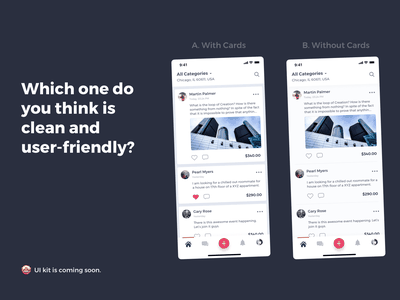 Which one do you think is easier on eyes and more user-friednly? pink minimal pwa ios feed choose one friendly desi which one ui kit