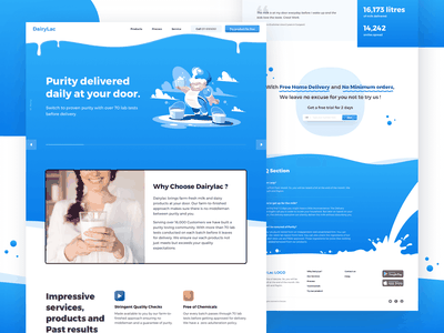 V1 for the dairy related site. gradient blue landing page milk products web milk dairy