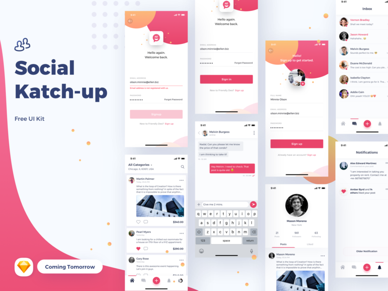 Social Katchup Freebie coming tomorrow social app ui kit ios app ios sketch uikit freebie