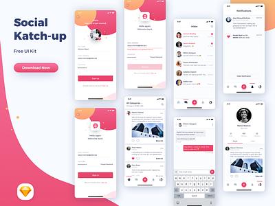 Social - Katchup Freebie - Sketch UI Kit ios notification messages feed profile social sketch ui kit freebie
