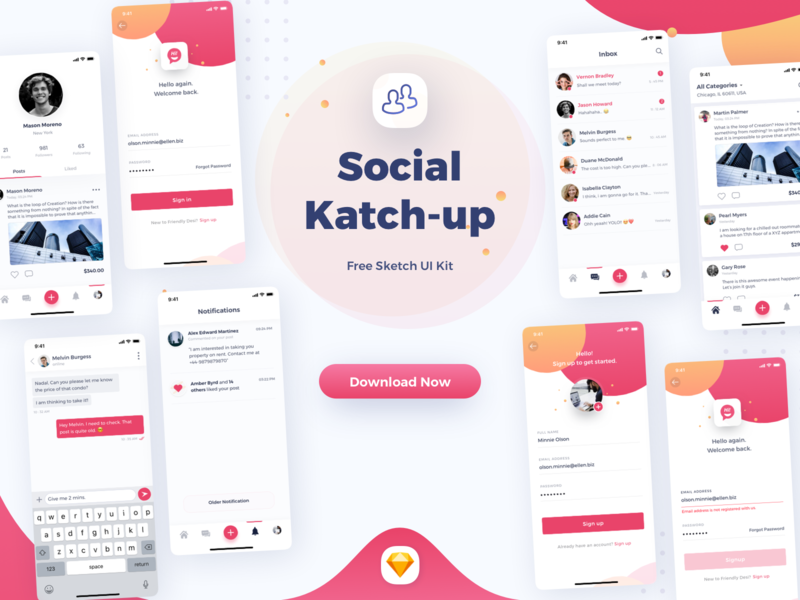 Social - Katchup Freebie - Sketch UI Kit ios notification messages feed profile social sketch ui kit freebie
