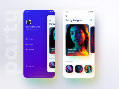 New app drawer Idea with a minimal view of party+dating app