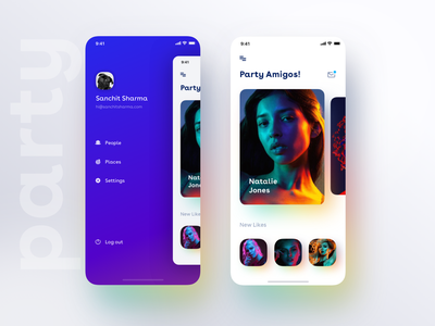 New app drawer Idea with a minimal view of party+dating app ui ios7 dating app swipe minimal message inbox friends likes models drawer menu party dating ios