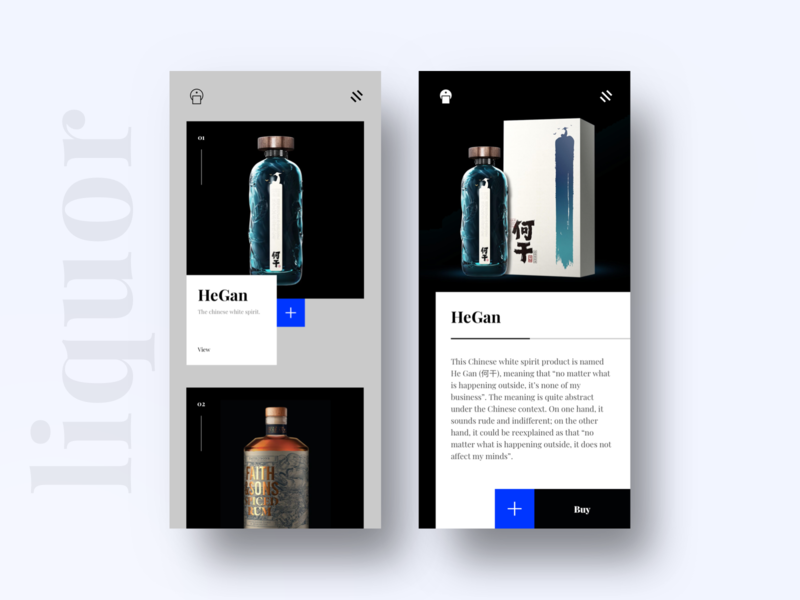 Sharp and professional app for the liquor lovers [CONCEPT] progressive web app different app android ios drinks buy ux ui bottle cart whiskey liquor sharp minimal