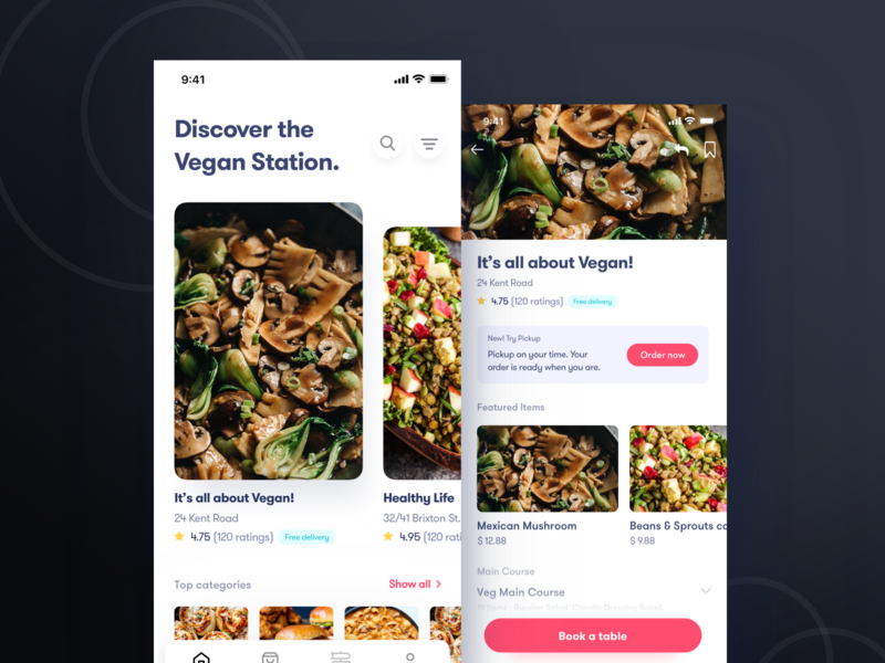 Book a restaurant table and order online - ios App vegetarian vegan delivery menu gradient white mobile red ios food app minimal ui food order