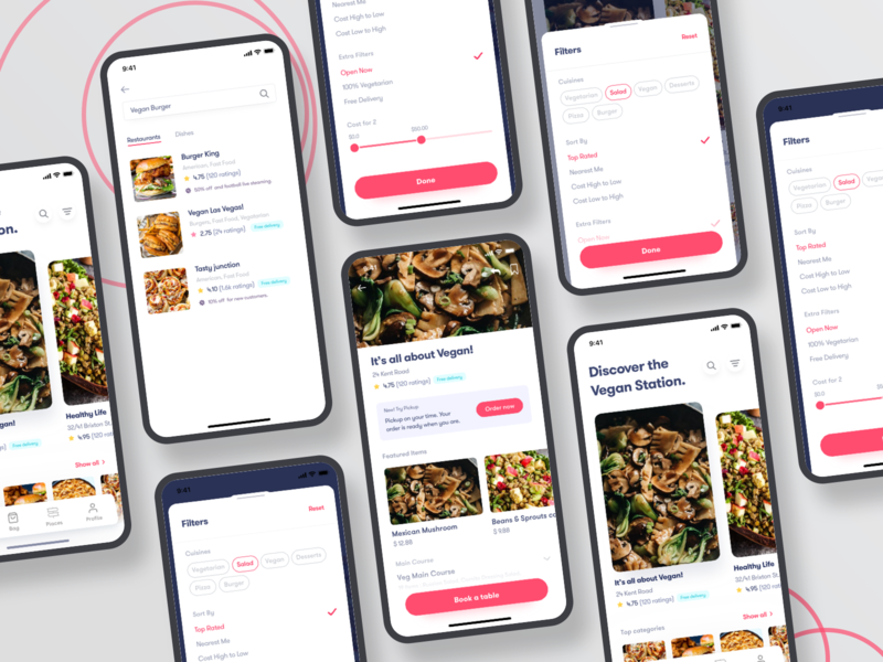 Book a restaurant table and order online free ios kit iphone kit freebie book red ios food app filter online order vegetarian vegan food design uiux ui table restaurant