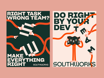 Print Ads for Southworks atlanta design color coffee identity logo typography branding type illustration