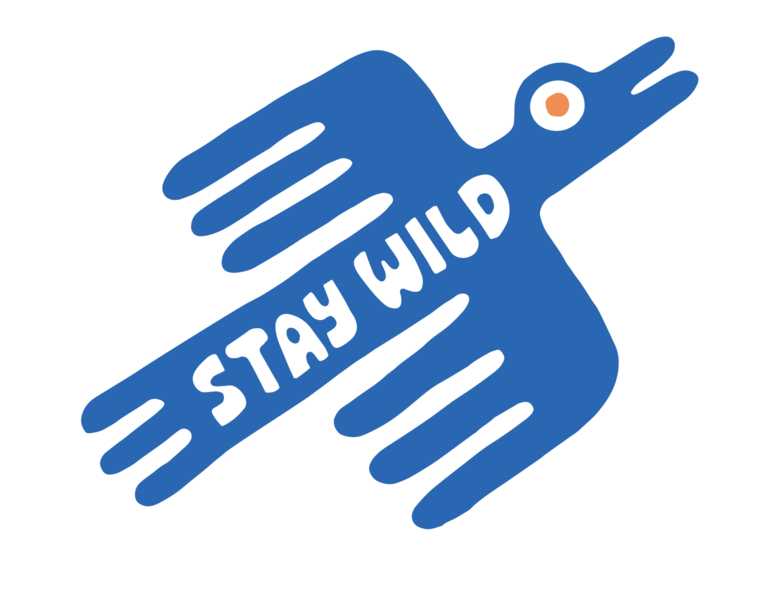 Stay Wild wild blue doodle bird colors logo typography type illustration