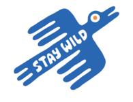 Stay Wild wild blue doodle bird colors logo typography type illustration