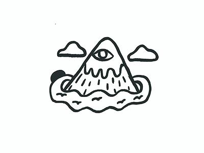Following the sun outdoor mountain doodle animation illustration