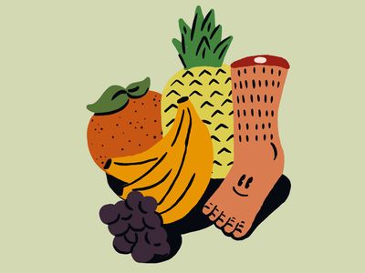 Guess what I ate today banana hair illustration foot fruit